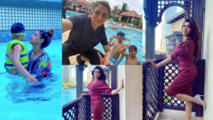 Sana Fakhar Bold Pictures with family swiming
