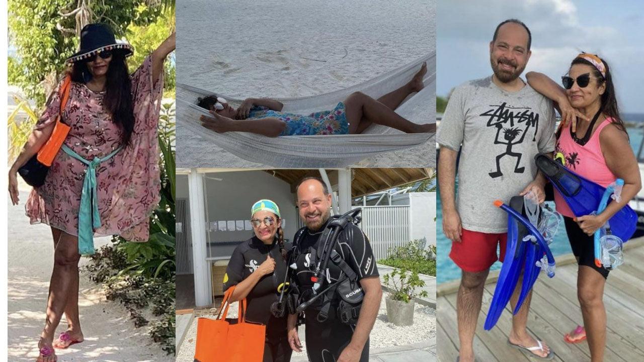 Frieha Altaf enjoying on Maldives beach with Husband