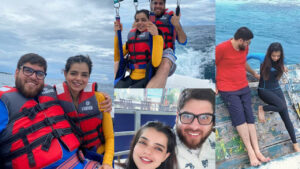 Srha Asghar on Honeymoon with her Husband Swimming Pictures