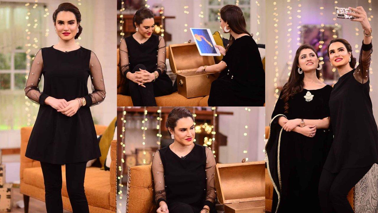 Nadia Hussain looking more smart and Cute in Nida Yasir Show