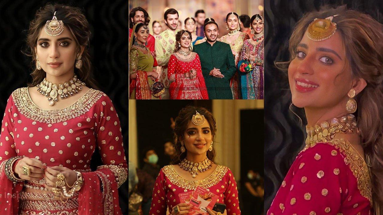 Saboor Ali New Red Bridal Dress Shoot and Ramp Walk