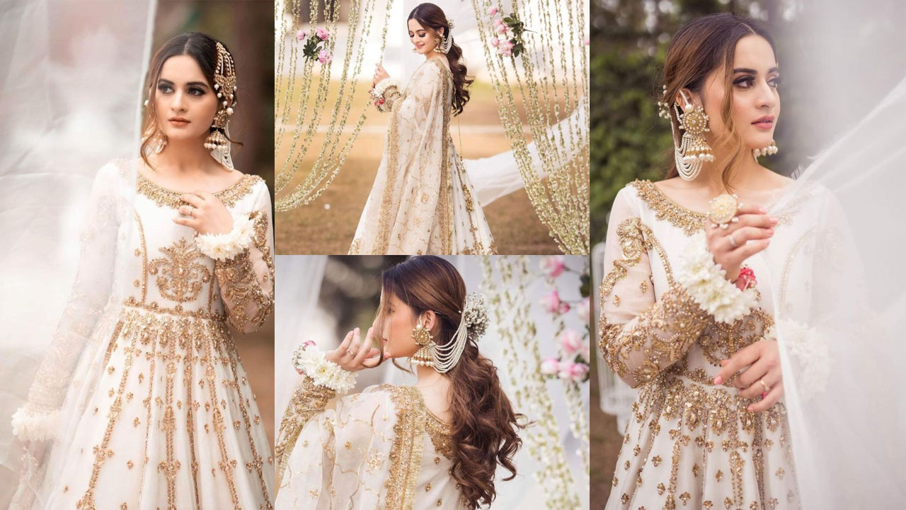 Aiman Khan Wearing the White Wedding Dress Lovely Pictures