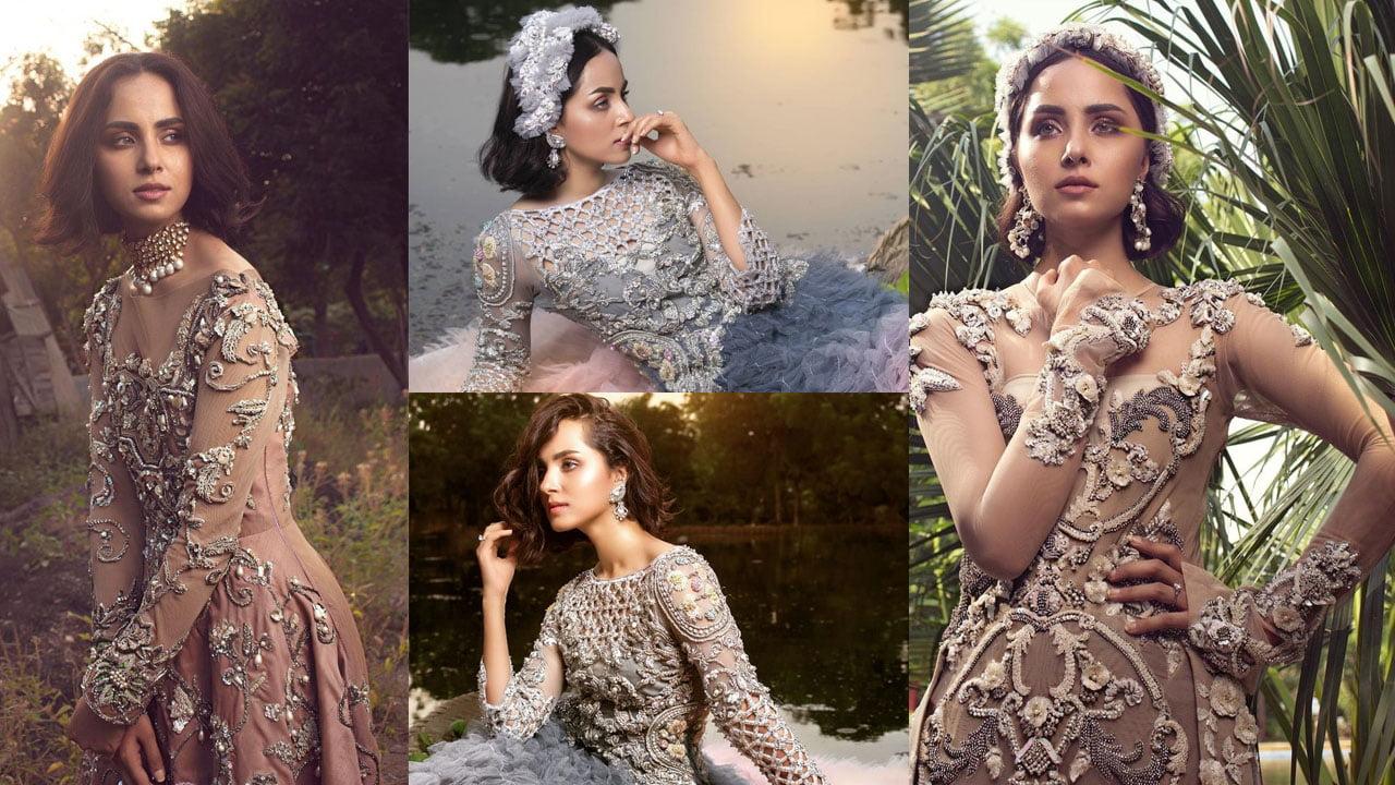Nimra Khan Wearing the princess dress in Natural Environment
