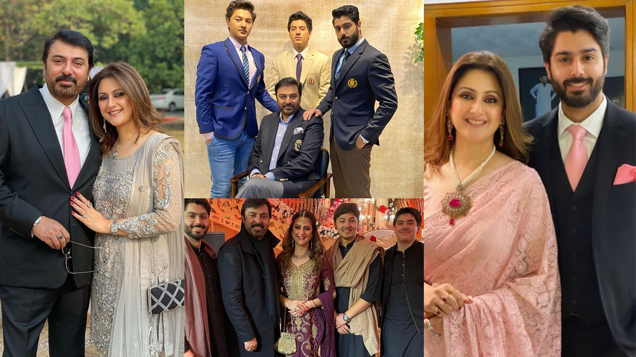 Noman Ijaz lovely Clicks with Sons and Young Wife