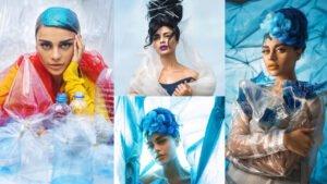 Sadaf Kanwal Some Weird Clicks wearing plastic Dress