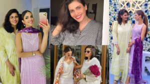 Sonya Hussyn Pausing with Her Young Mom Adorable Pictures