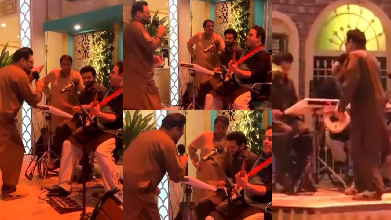 Amir Liaquat Hussain Singing Laila Ma Laila at Show Set Behind the scenes