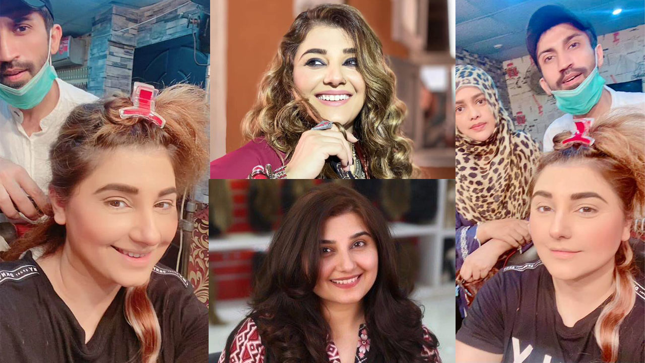 Javeria Saud Make a New Hair Style with Makeup Artistic Pictures