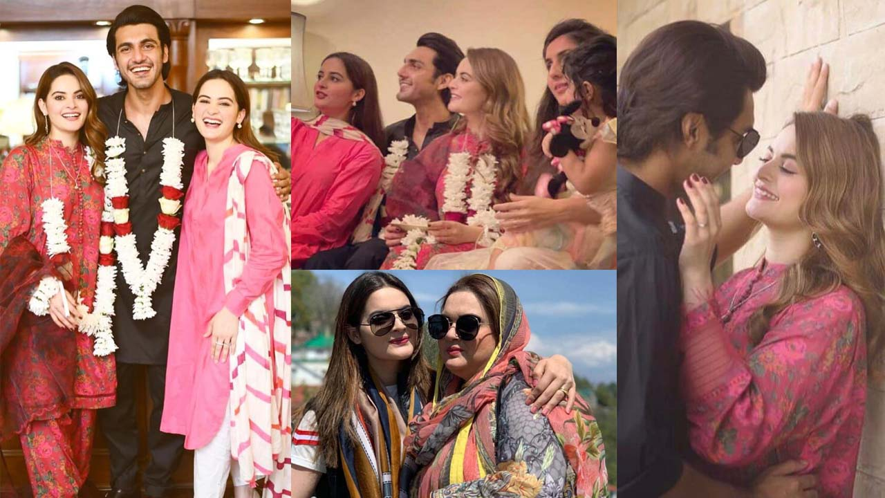 Aiman Khan at her Sister Minal Khan Engagement with Mohsin family Pictures