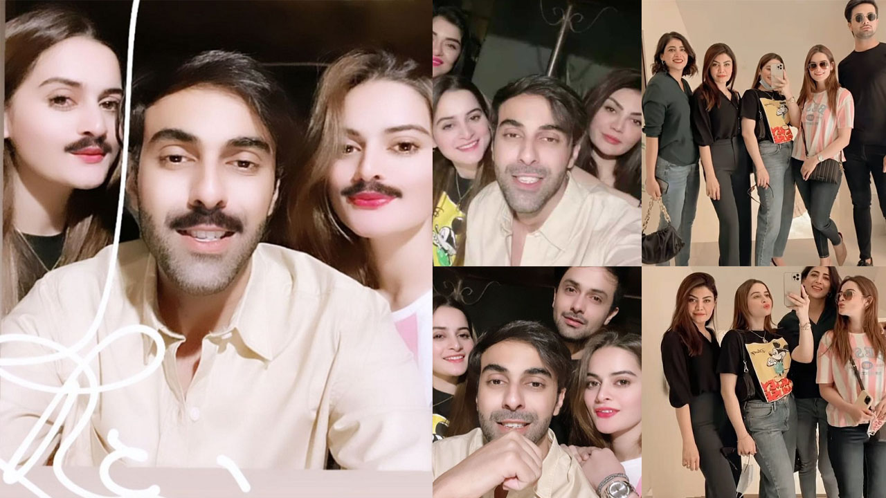 Aiman and Minal Khan with their Friends party looking boys