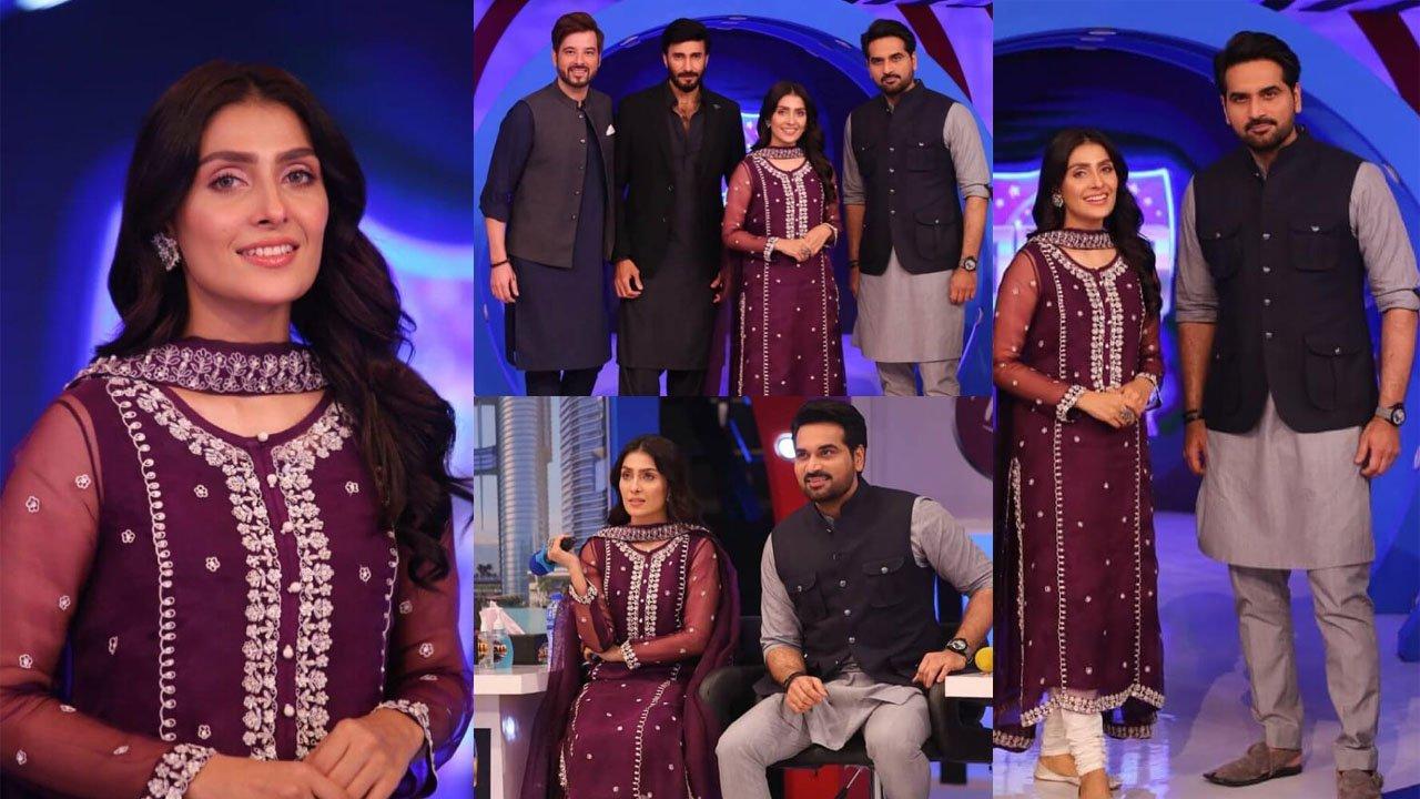 Ayeza Khan and Humayun Saeed at Show with Simple Dressing
