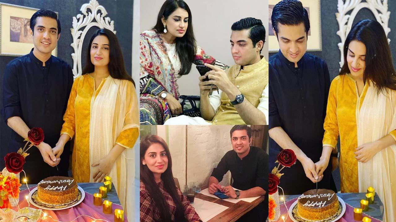Iqrar Ul Hassan celebrating his wedding anniversary with Farah Yousaf