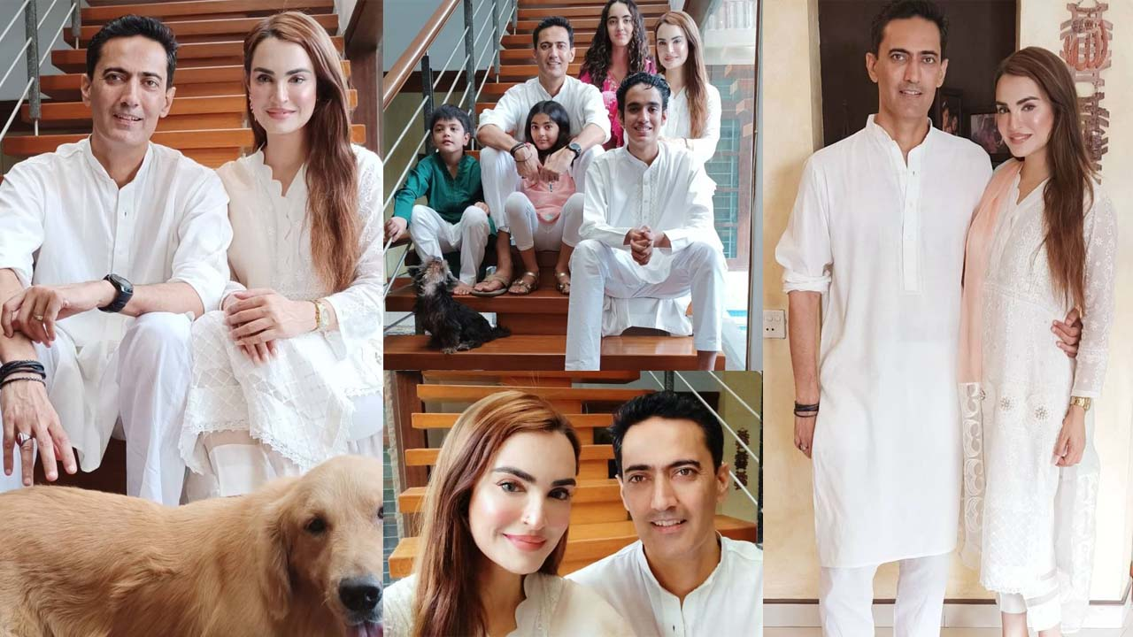 Nadia Hussain With Her Young Husband and Children Pictures