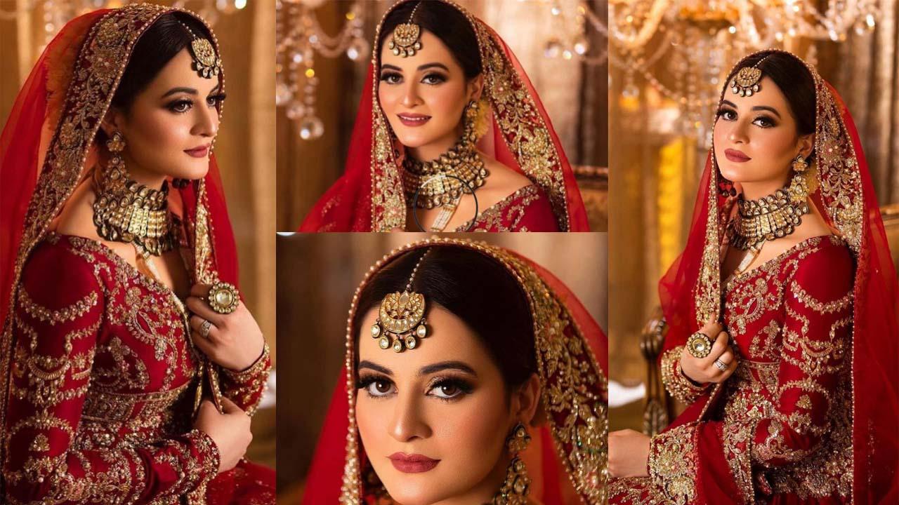 Aiman Khan New Bridal Shoot in Red Dressing Looking Fresh Bridal